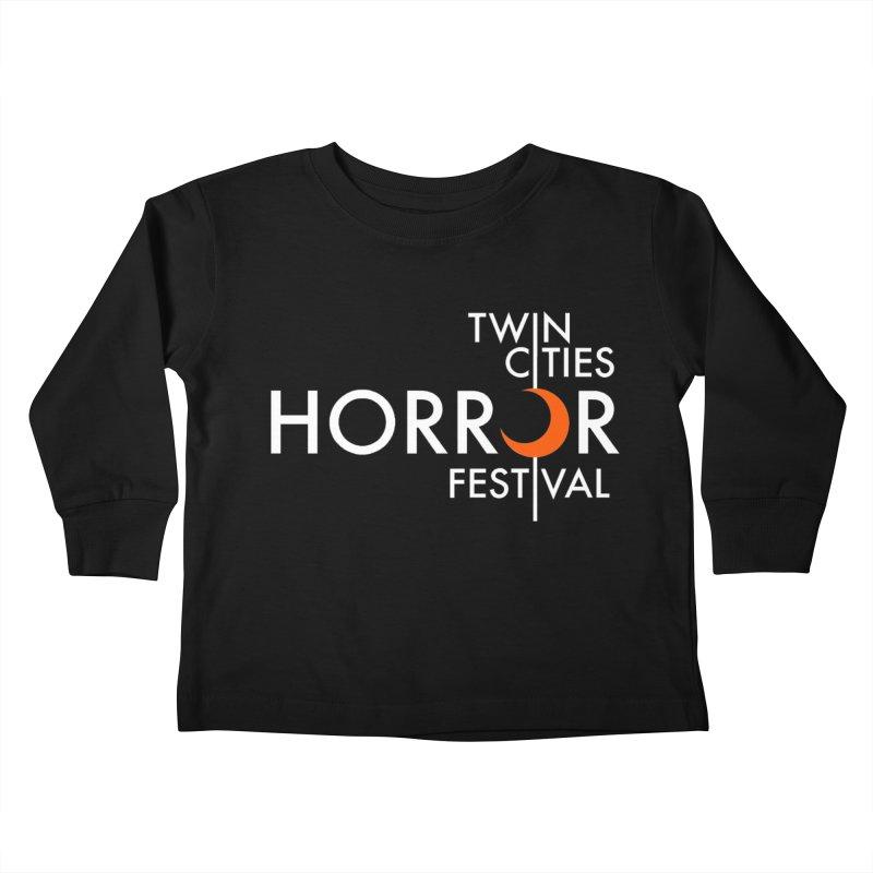 TC Horror Fest Logo Merchandise White Lettering Kids Toddler Longsleeve T-Shirt by Twin Cities Horror Festival Merchandise