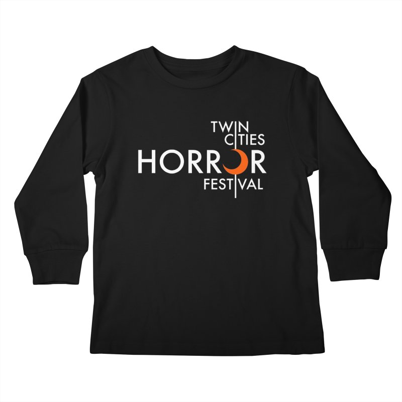 TC Horror Fest Logo Merchandise White Lettering Kids Longsleeve T-Shirt by Twin Cities Horror Festival Merchandise