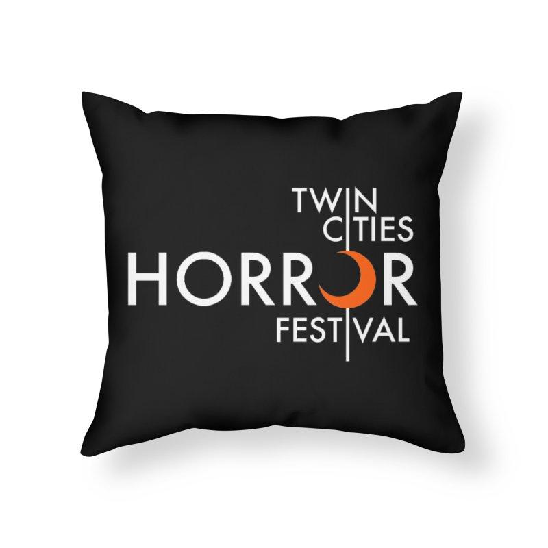 TC Horror Fest Logo Merchandise White Lettering Home Throw Pillow by Twin Cities Horror Festival Merchandise