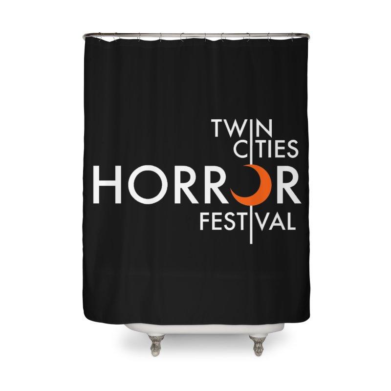 TC Horror Fest Logo Merchandise White Lettering Home Shower Curtain by Twin Cities Horror Festival Merchandise