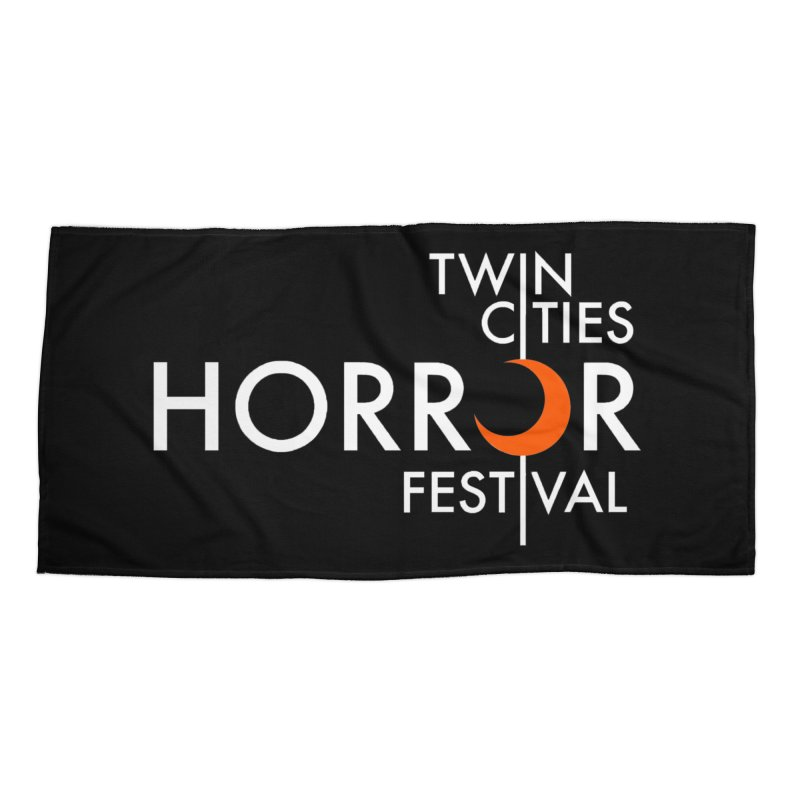TC Horror Fest Logo Merchandise White Lettering Accessories Beach Towel by Twin Cities Horror Festival Merchandise