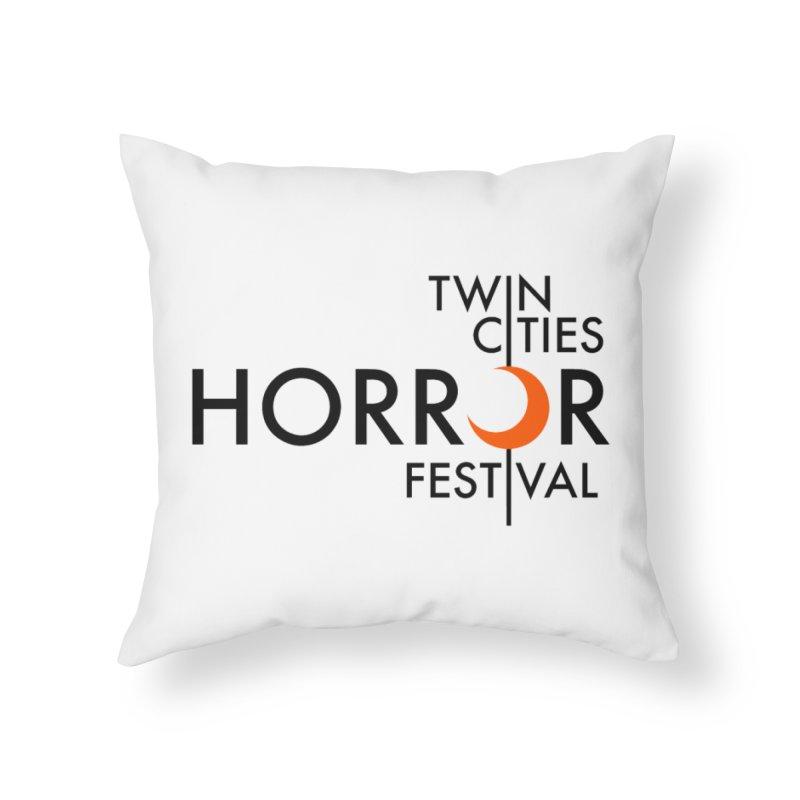 TC Horror Fest Logo Merchandise Black Lettering Home Throw Pillow by Twin Cities Horror Festival Merchandise