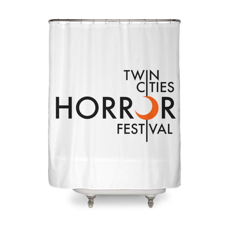TC Horror Fest Logo Merchandise Black Lettering Home Shower Curtain by Twin Cities Horror Festival Merchandise