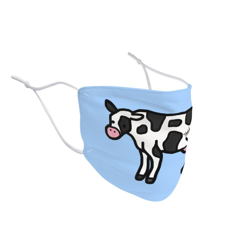 White Cow Doodle Accessories Face Mask by Thatcher's Artist Shop