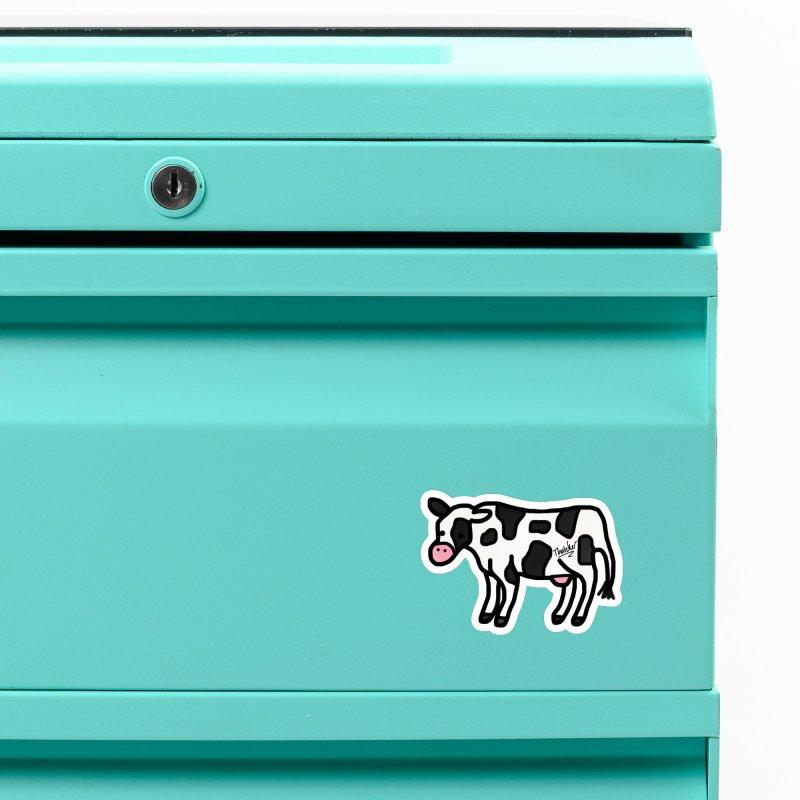 White Cow Doodle Accessories Magnet by Thatcher's Artist Shop