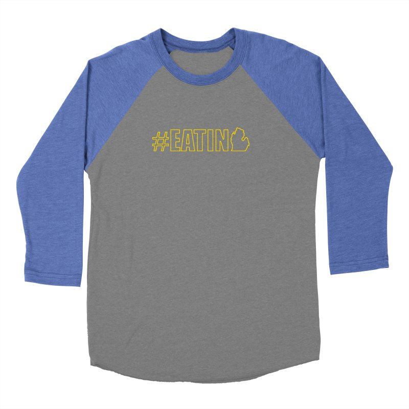 #EATING (MI outline) Men's Baseball Triblend Longsleeve T-Shirt by Plant a Seed