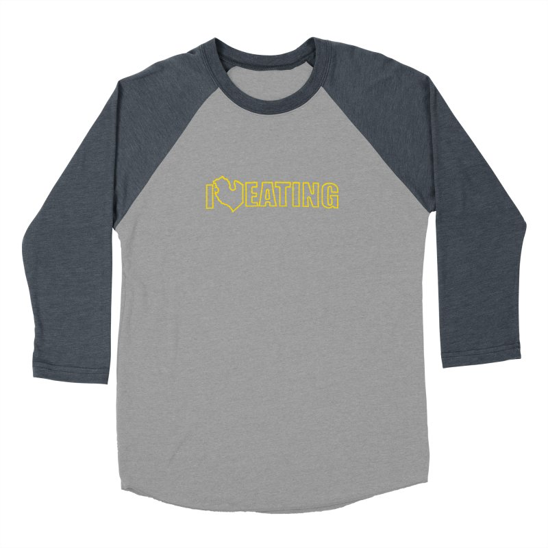 I <3 EATING oultine Men's Baseball Triblend Longsleeve T-Shirt by Plant a Seed