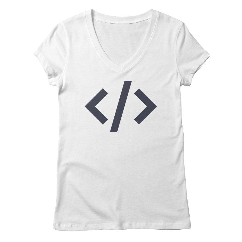 Code - Gray Women's Regular V-Neck by TechMasters Swag Shop