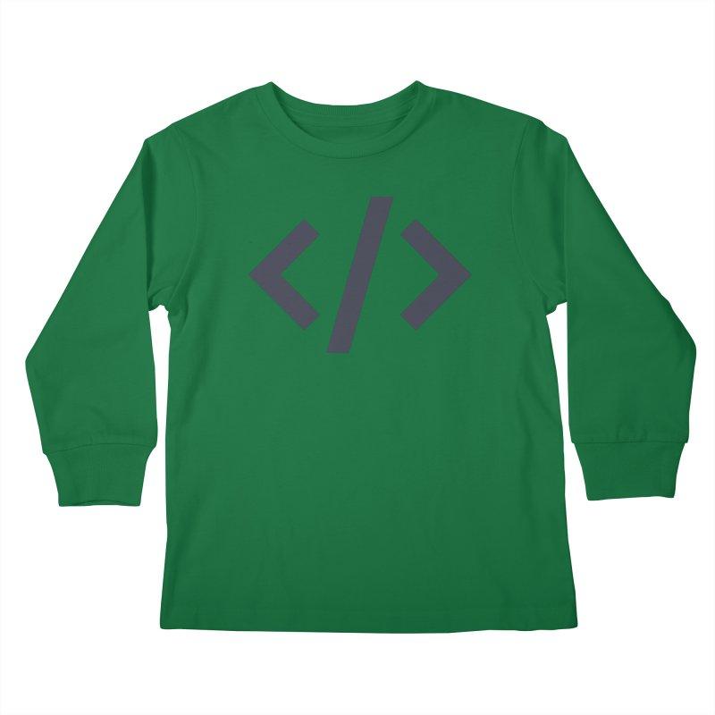 Code - Gray Kids Longsleeve T-Shirt by TechMasters Swag Shop