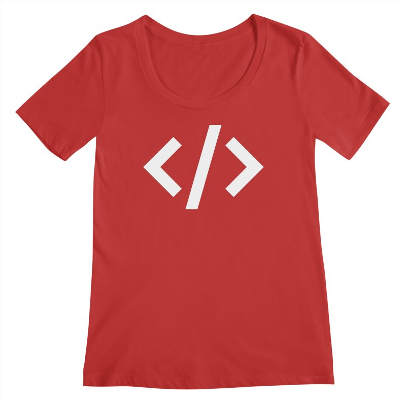 Code - White Women's Regular Scoop Neck by TechMasters Swag Shop