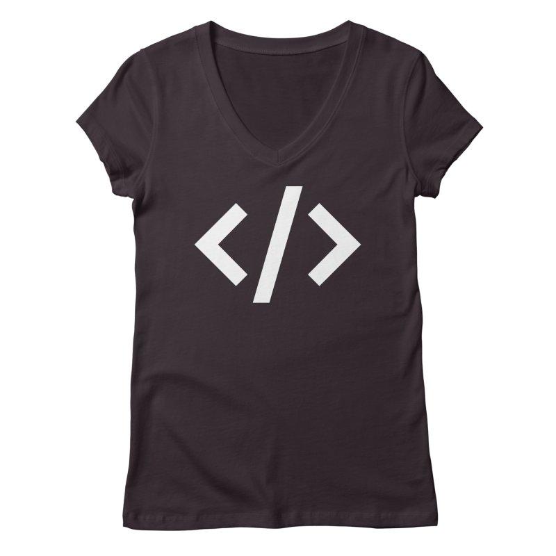 Code - White Women's Regular V-Neck by TechMasters Swag Shop
