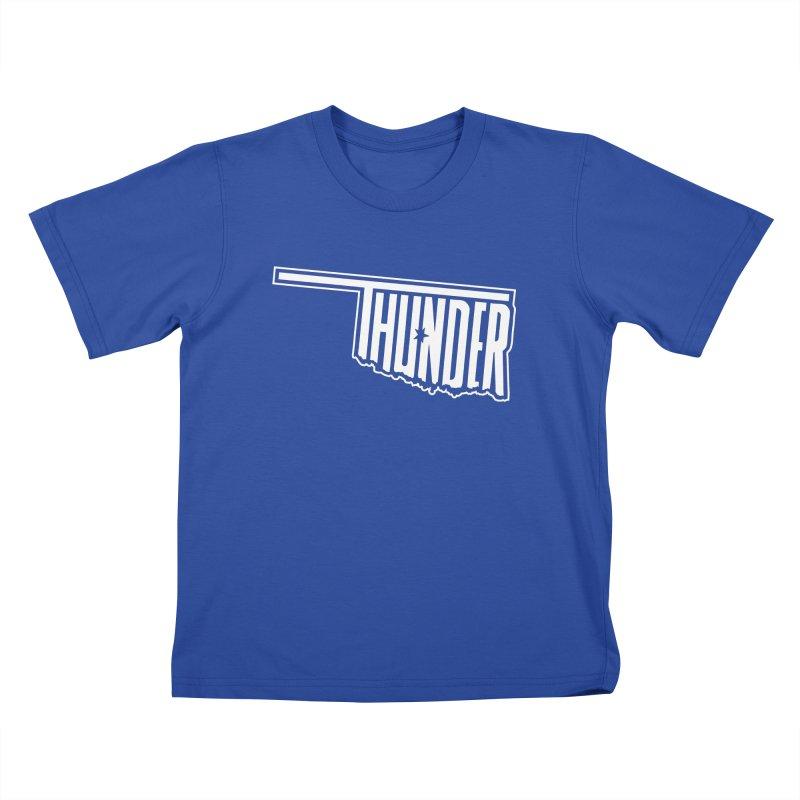 Thunder White Logo Kids T-Shirt by teebag's Artist Shop
