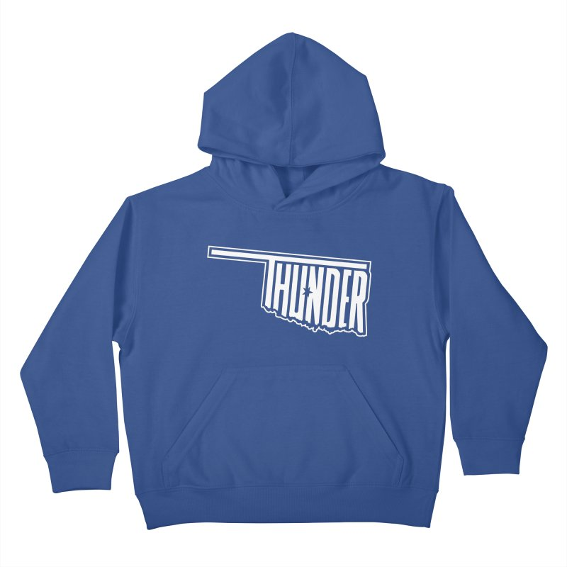 Thunder White Logo Kids Pullover Hoody by teebag's Artist Shop