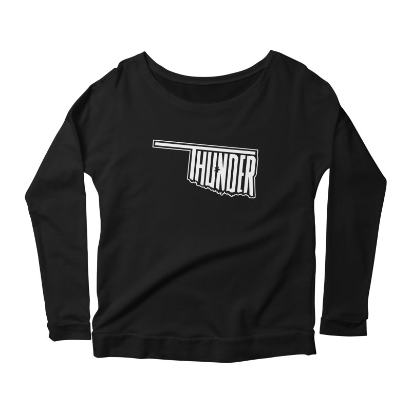 Thunder White Logo Women's Longsleeve Scoopneck  by teebag's Artist Shop
