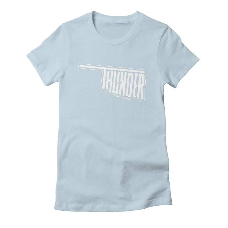 Thunder White Logo Women's Fitted T-Shirt by teebag's Artist Shop