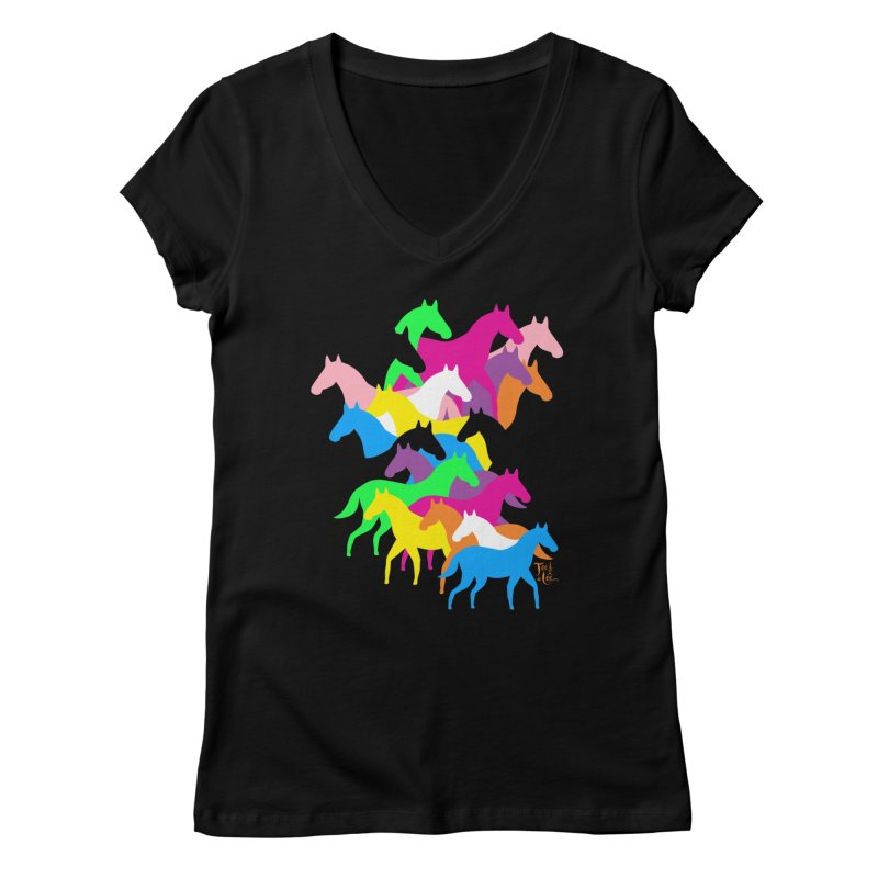 All the wild horses Women's V-Neck by TeedeLee