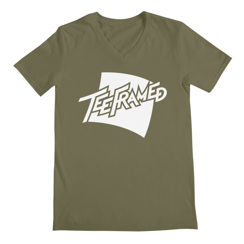 Teeframed - White Logo Men's Regular V-Neck by Teeframed