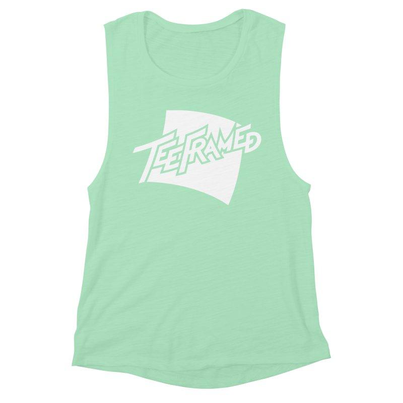 Teeframed - White Logo Women's Muscle Tank by Teeframed
