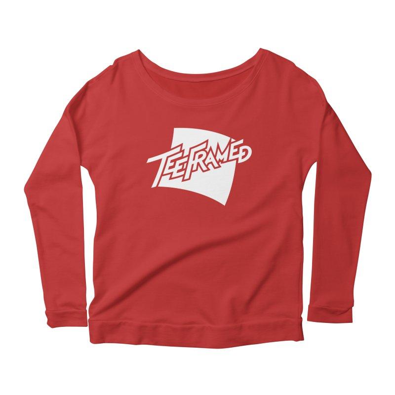 Teeframed - White Logo Women's Scoop Neck Longsleeve T-Shirt by Teeframed