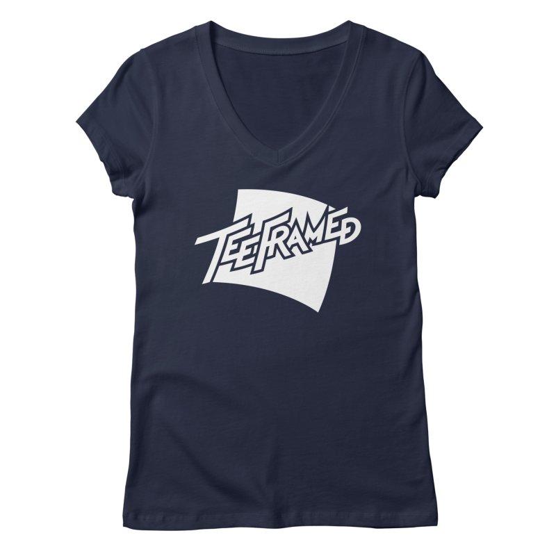 Teeframed - White Logo Women's Regular V-Neck by Teeframed
