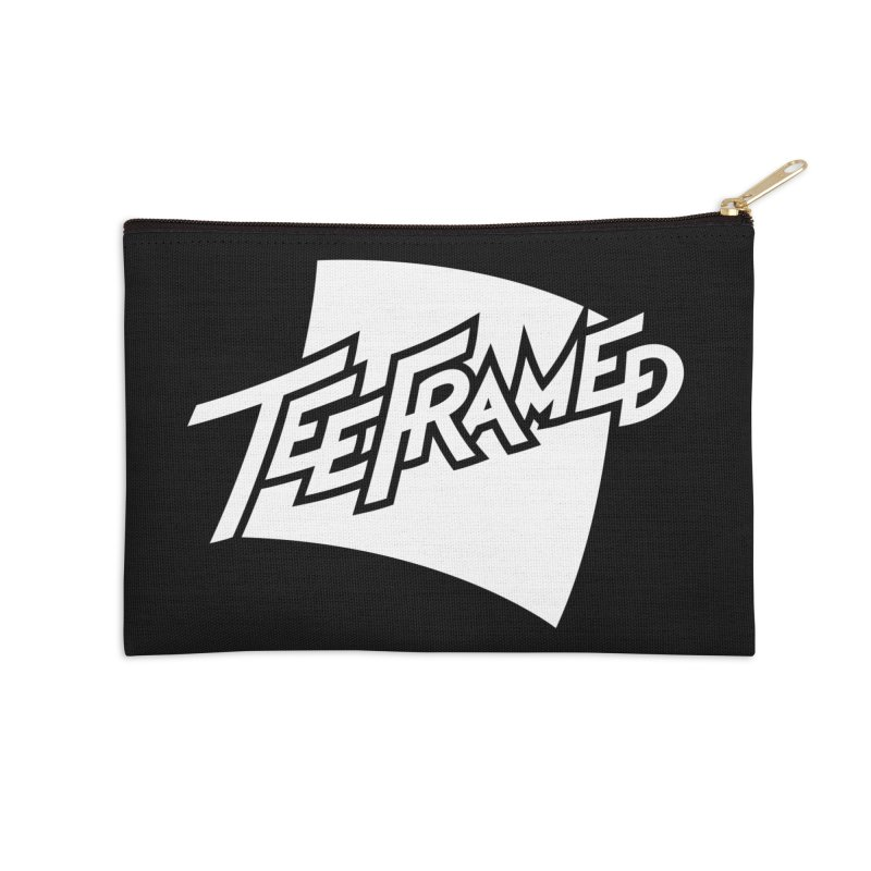 Teeframed - White Logo Accessories Zip Pouch by Teeframed