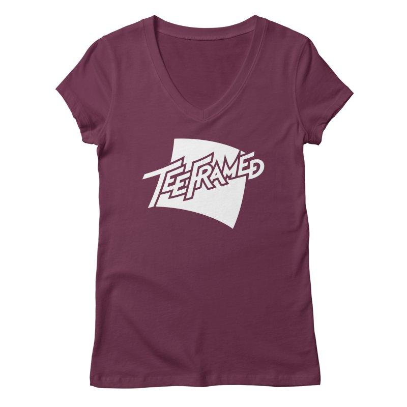 Teeframed - White Logo Women's V-Neck by Teeframed