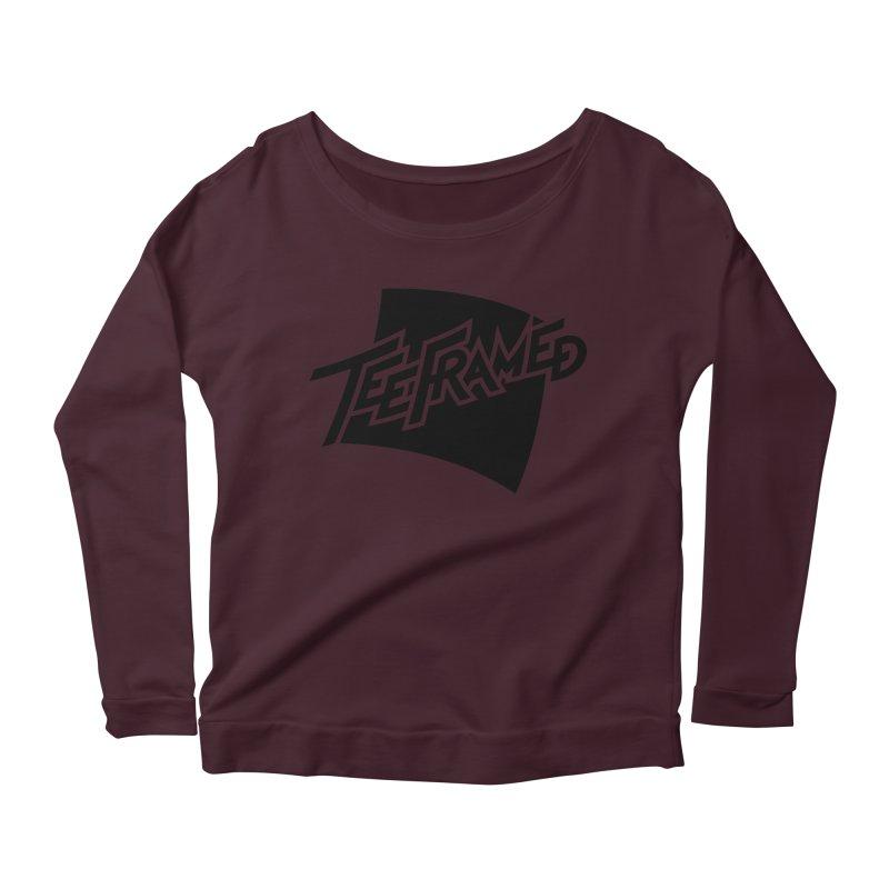 Teeframed - Black Logo Women's Scoop Neck Longsleeve T-Shirt by Teeframed