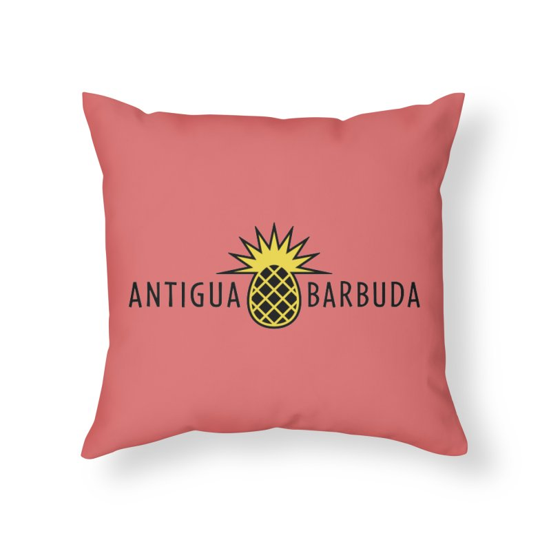 Antigua & Barbuda - Black Pineapple Home Throw Pillow by Teeframed