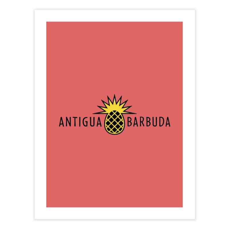 Antigua & Barbuda - Black Pineapple Home Fine Art Print by Teeframed
