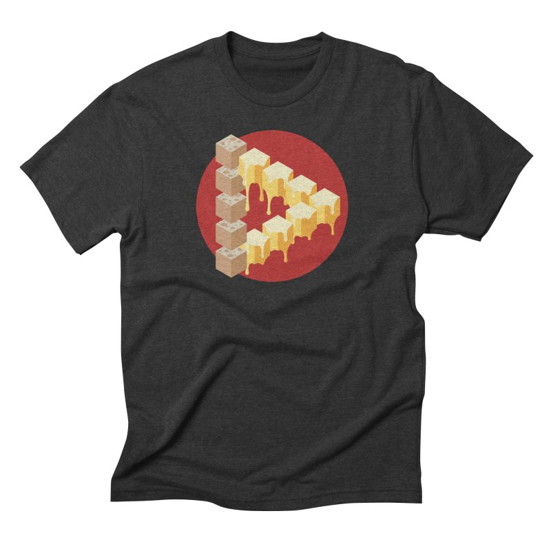 Optical Illusion with Extra Cheese in Men's Triblend T-Shirt Heather Onyx by Teeframed