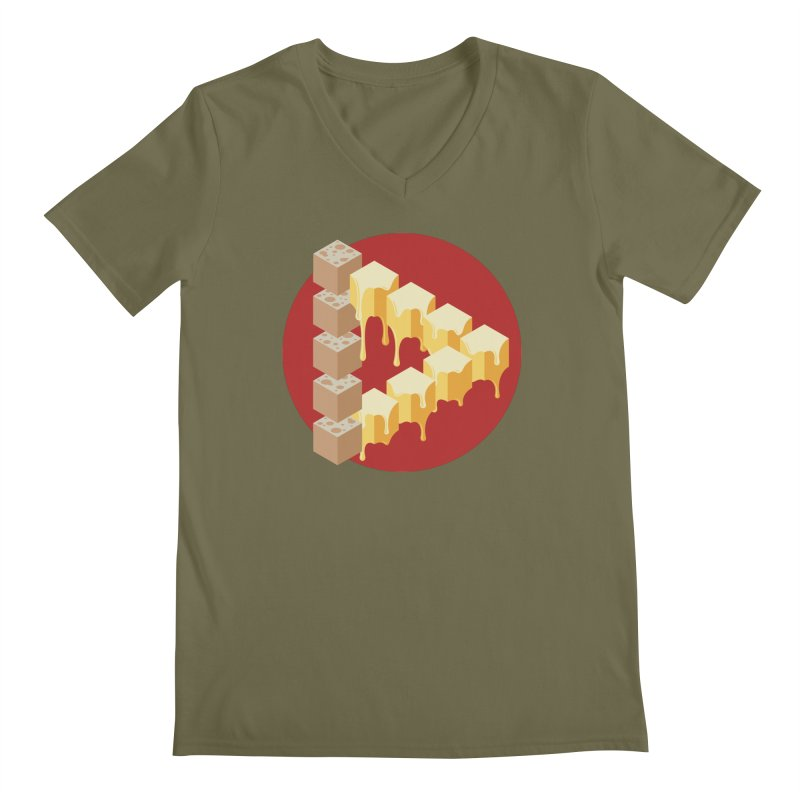 Optical Illusion with Extra Cheese Men's Regular V-Neck by Teeframed