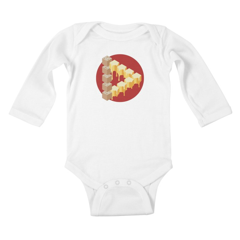Optical Illusion with Extra Cheese Kids Baby Longsleeve Bodysuit by Teeframed