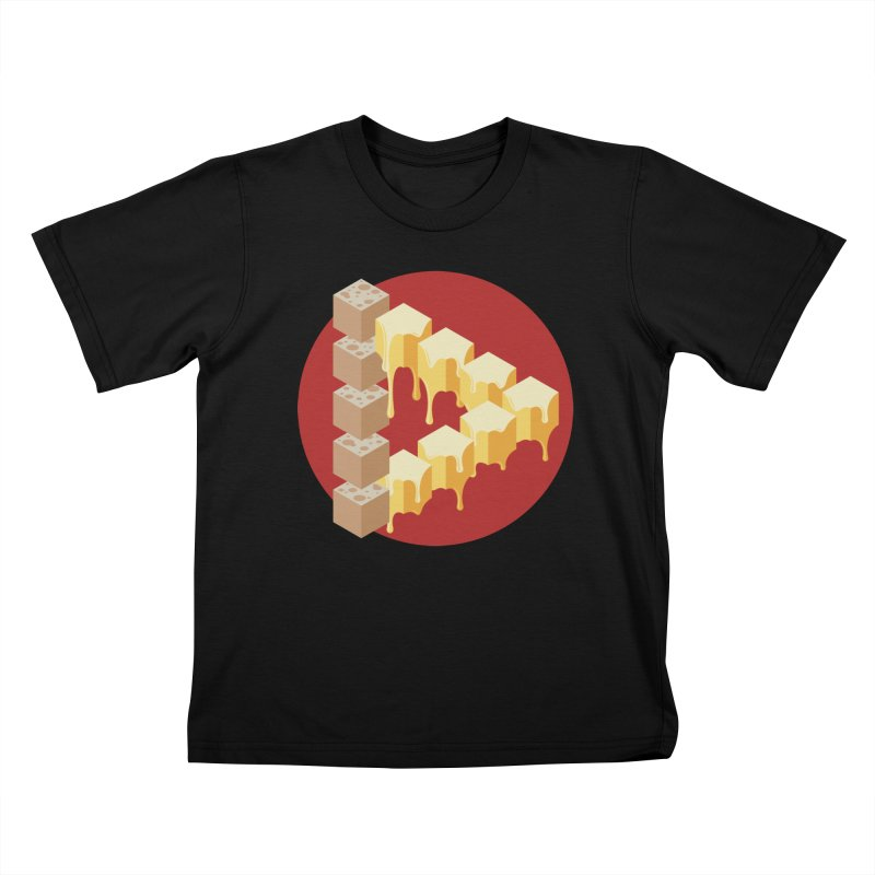 Optical Illusion with Extra Cheese Kids T-Shirt by Teeframed