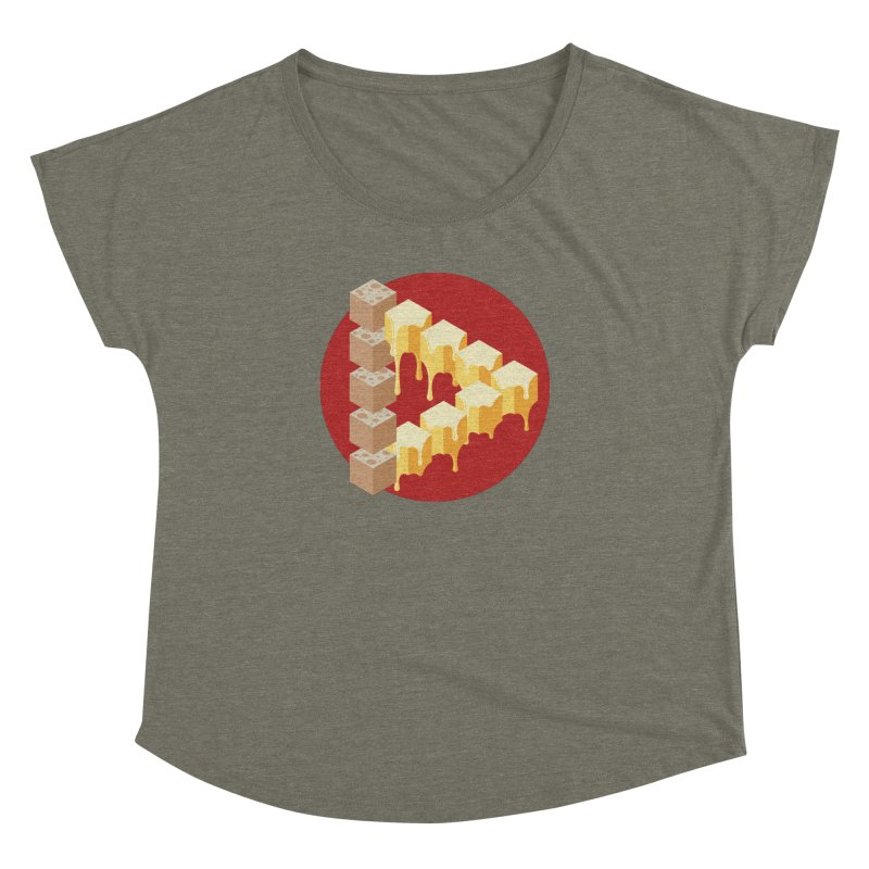 Optical Illusion with Extra Cheese Women's Dolman Scoop Neck by Teeframed