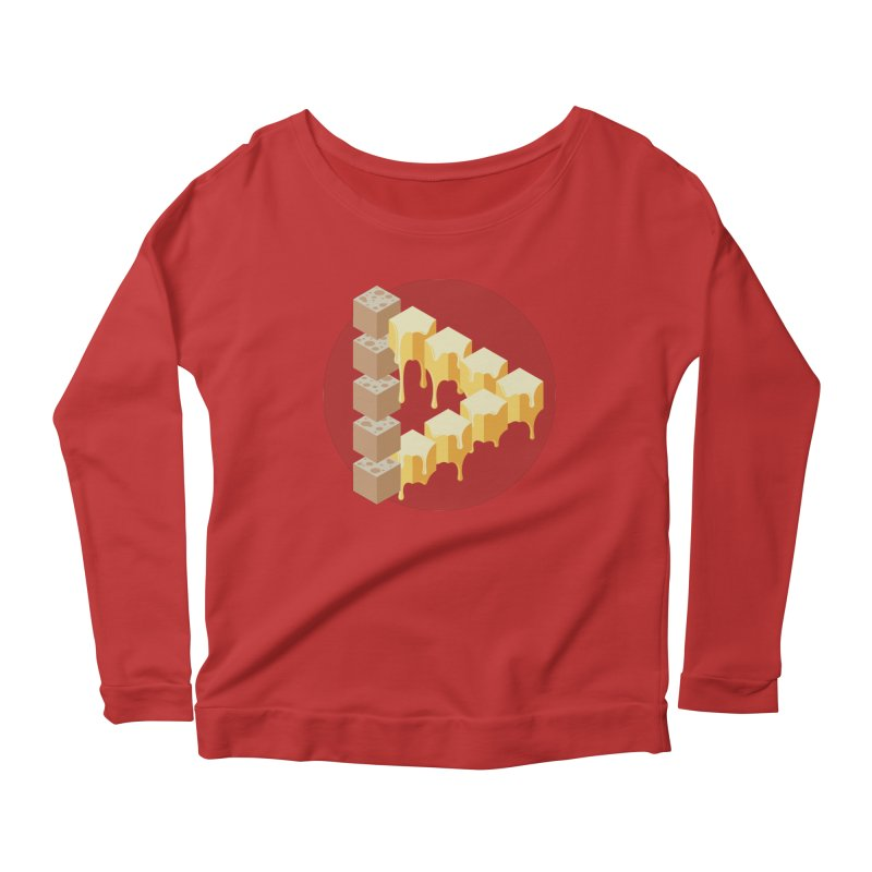 Optical Illusion with Extra Cheese Women's Scoop Neck Longsleeve T-Shirt by Teeframed