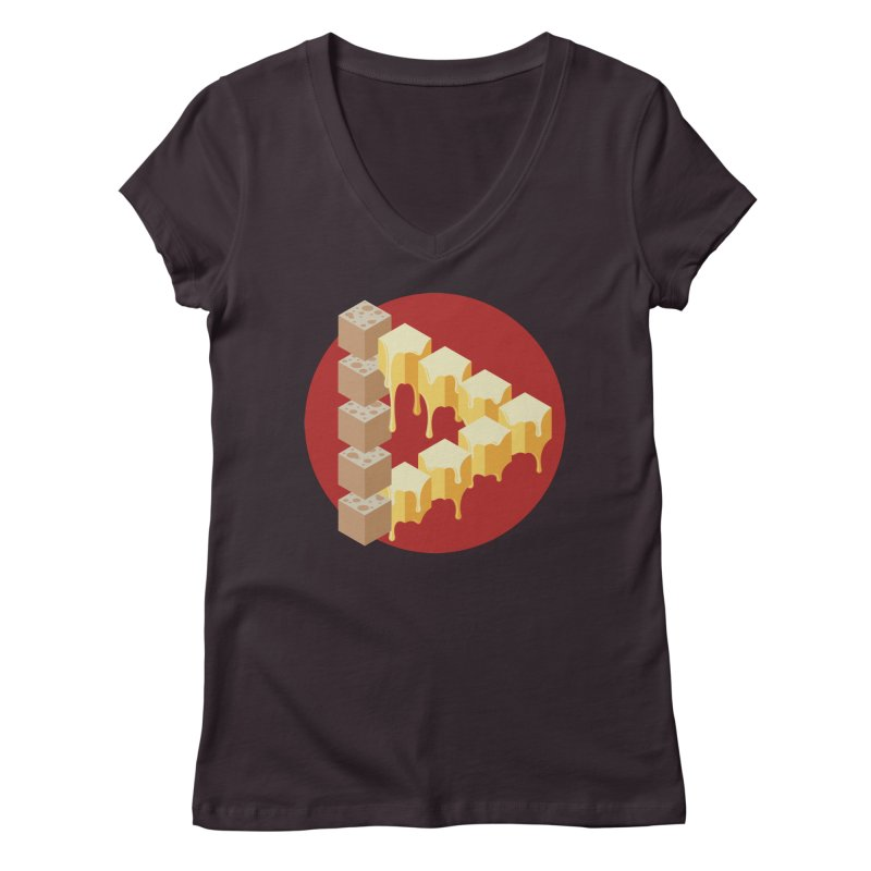 Optical Illusion with Extra Cheese Women's Regular V-Neck by Teeframed