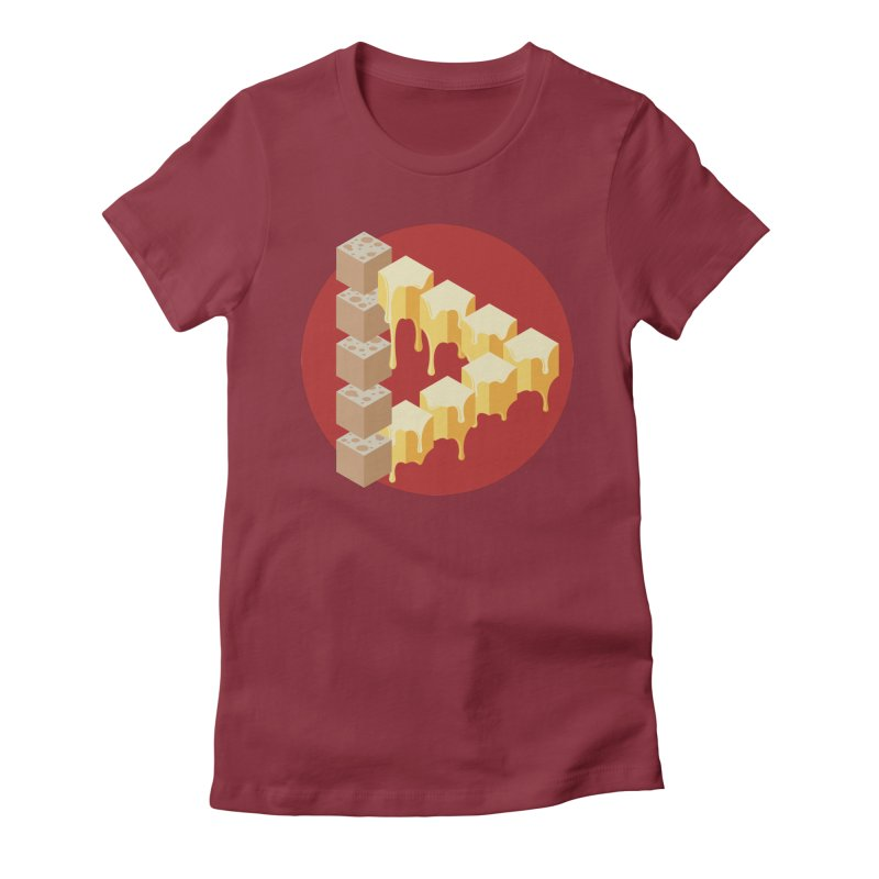 Optical Illusion with Extra Cheese Women's Fitted T-Shirt by Teeframed