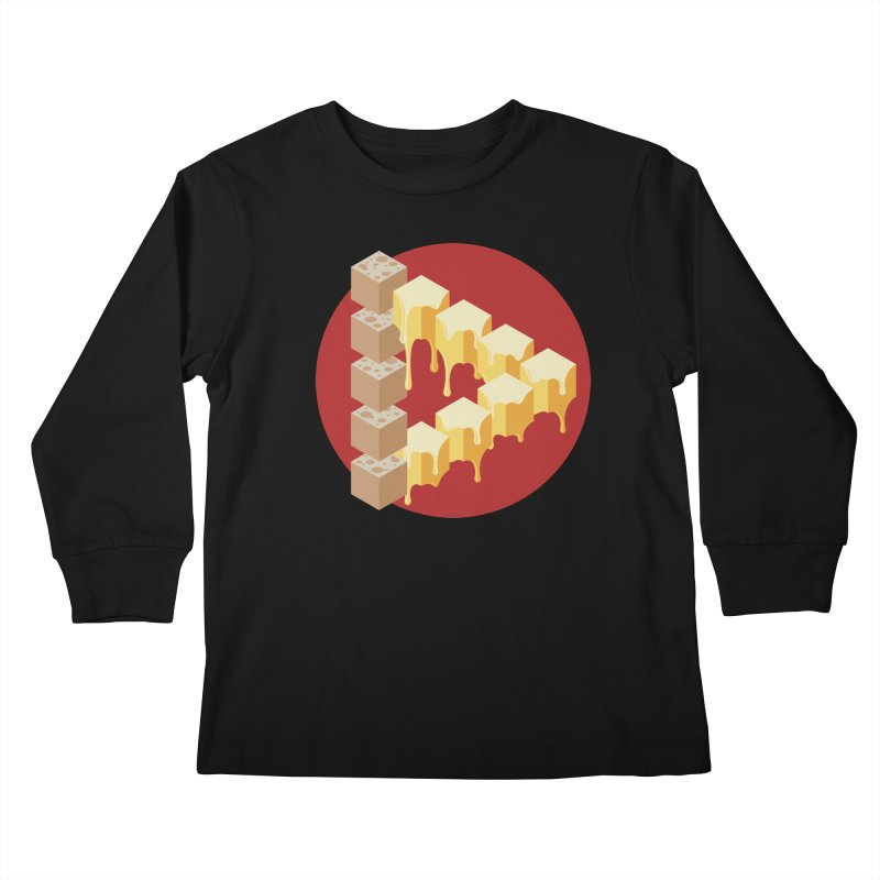 Optical Illusion with Extra Cheese Kids Longsleeve T-Shirt by Teeframed