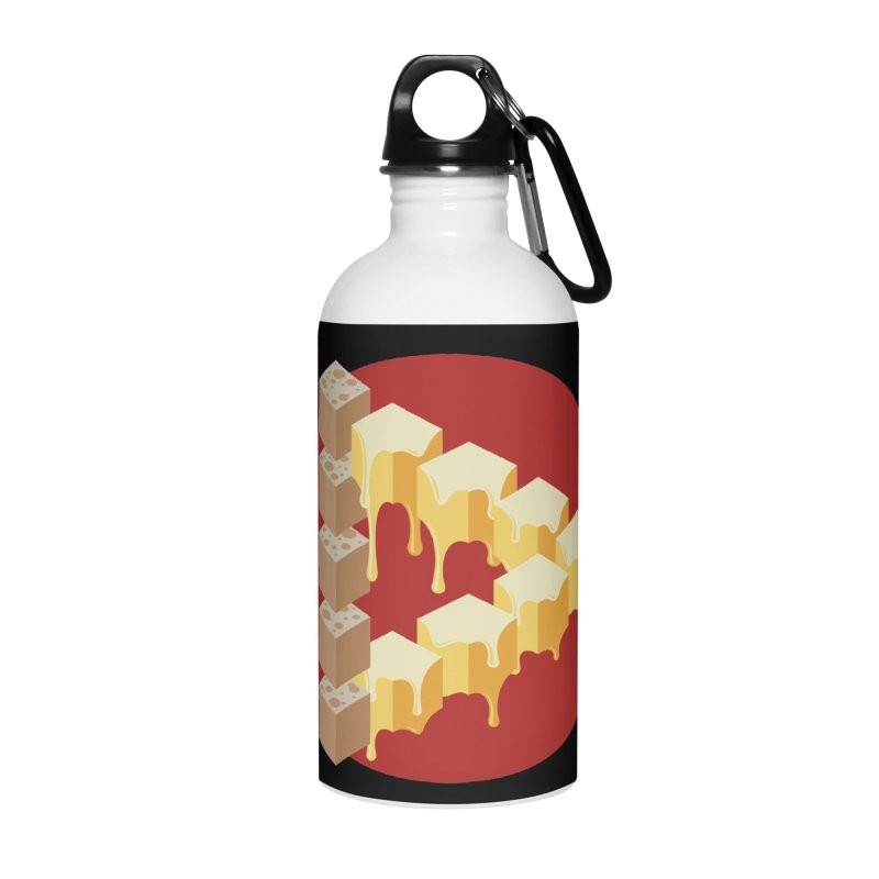 Optical Illusion with Extra Cheese Accessories Water Bottle by Teeframed