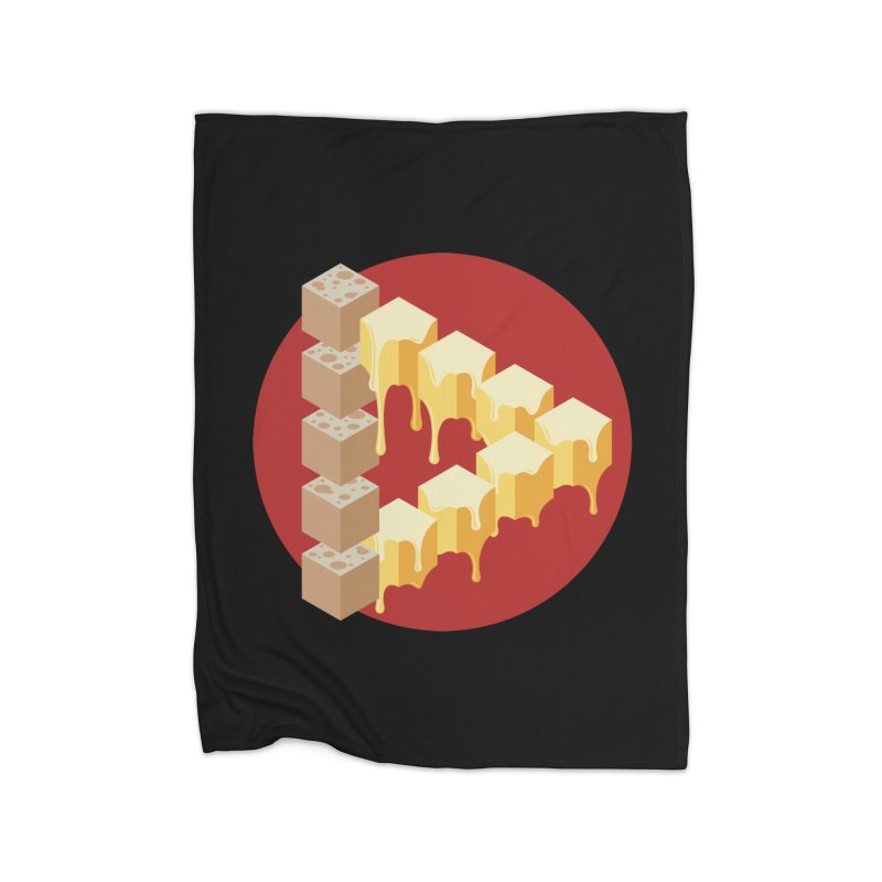Optical Illusion with Extra Cheese Home Fleece Blanket Blanket by Teeframed