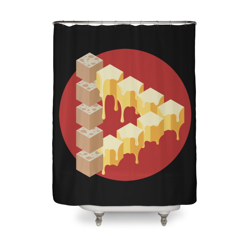 Optical Illusion with Extra Cheese Home Shower Curtain by Teeframed