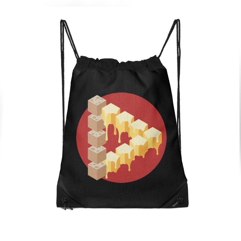 Optical Illusion with Extra Cheese Accessories Drawstring Bag Bag by Teeframed