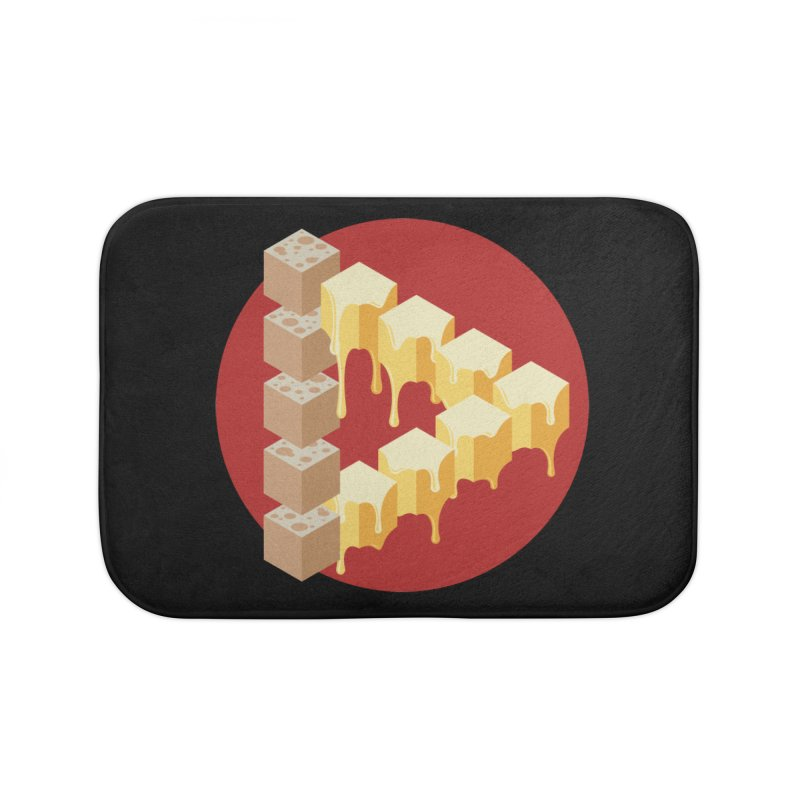 Optical Illusion with Extra Cheese Home Bath Mat by Teeframed