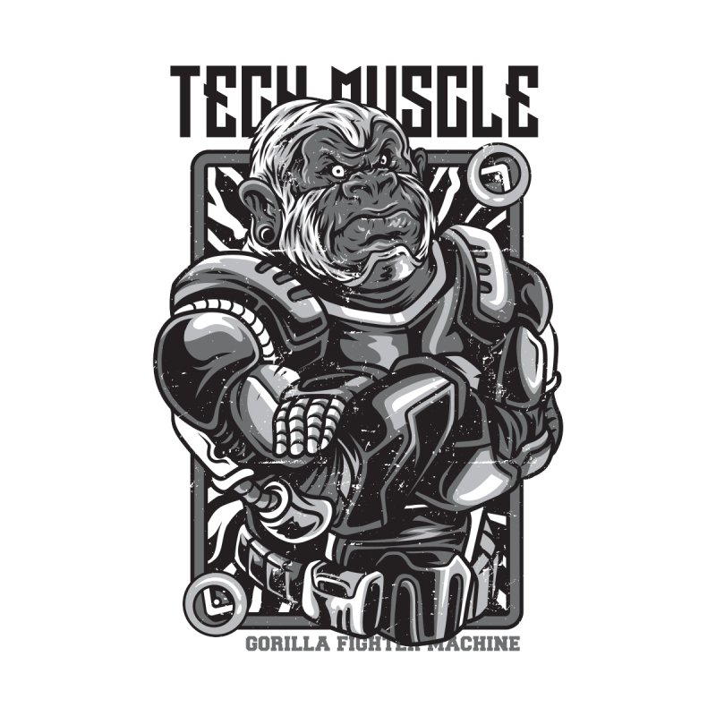 Tech Muscle Black & White Theme by teelity's Shop