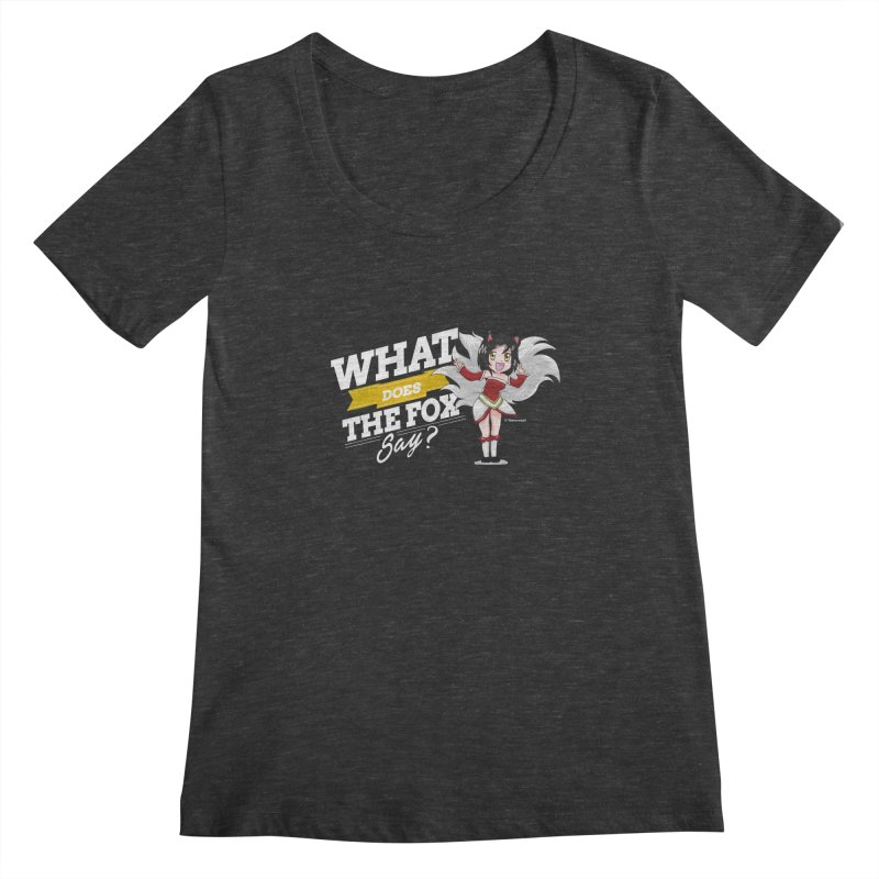 What does the fox say? (White edition) Women's Scoopneck by Teemovsall Official shop