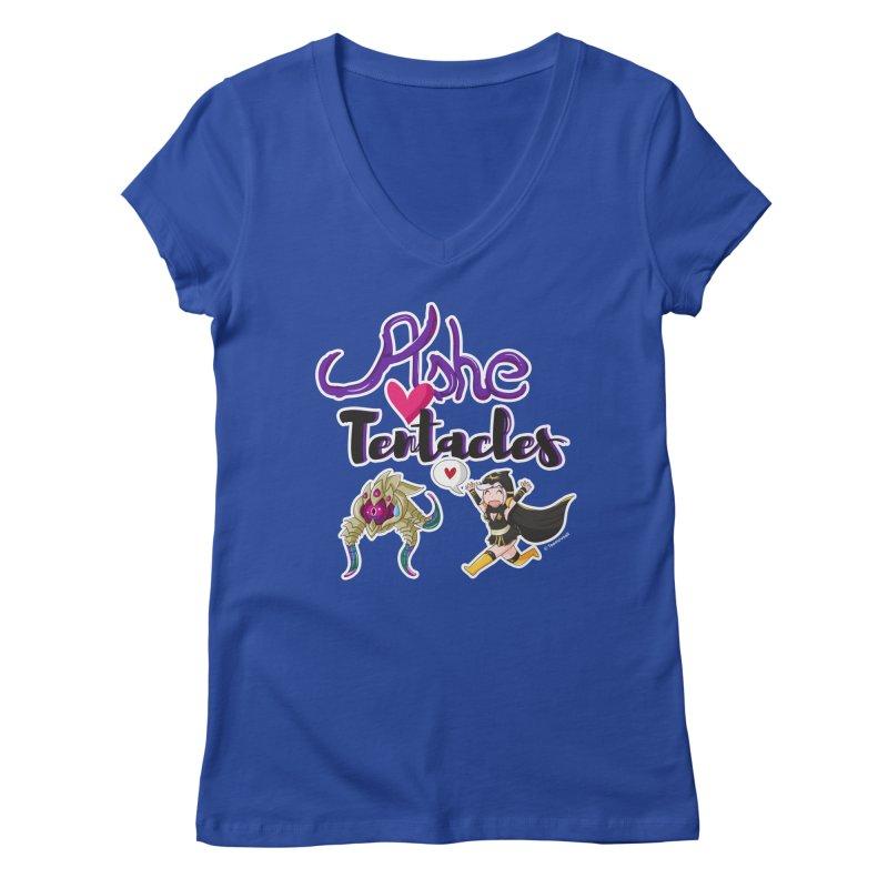 Ashe loves tentacles 1 Women's Regular V-Neck by Teemovsall Official shop