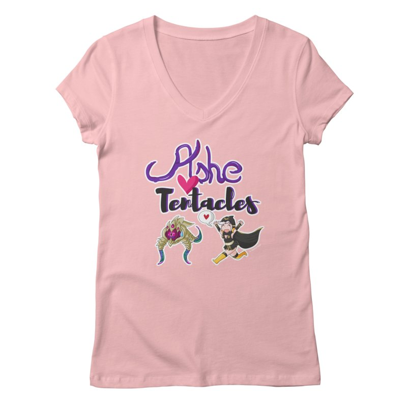 Ashe loves tentacles 1 Women's V-Neck by Teemovsall Official shop