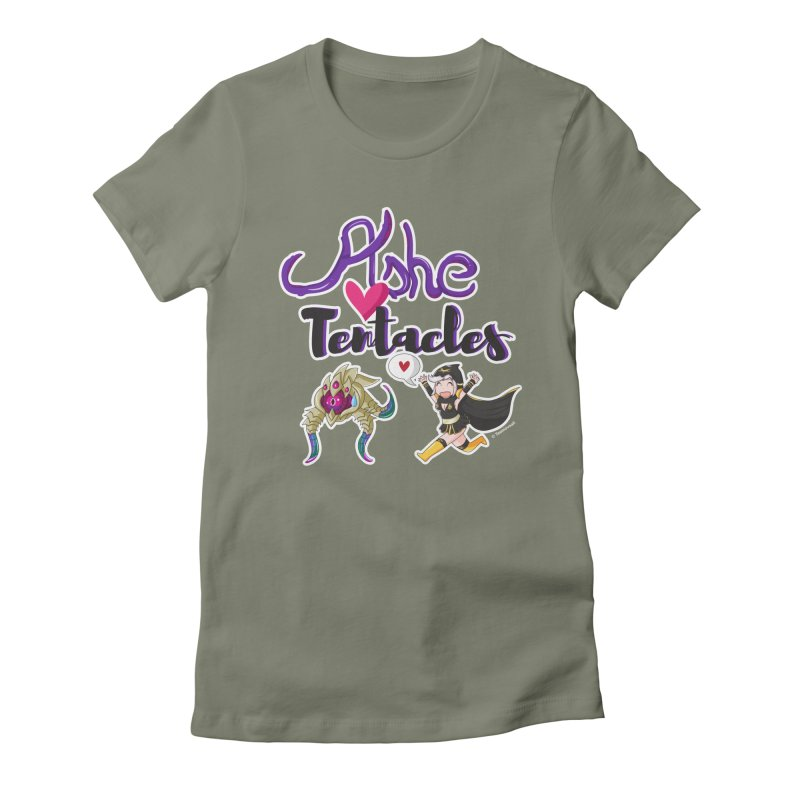 Ashe loves tentacles 1 Women's Fitted T-Shirt by Teemovsall Official shop