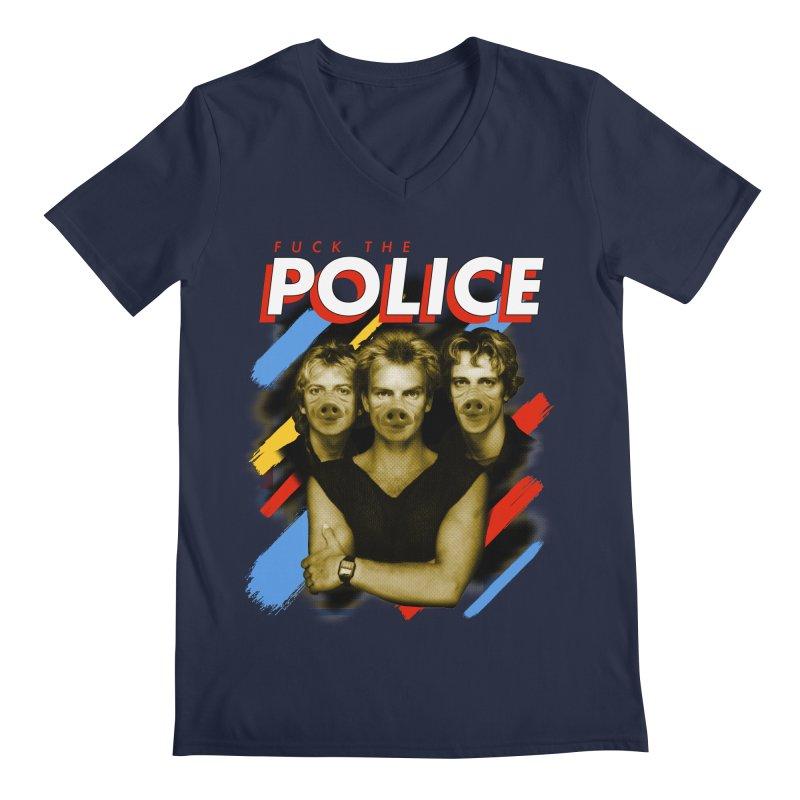 FUCK THE POLICE Men's Regular V-Neck by Teenage Stepdad