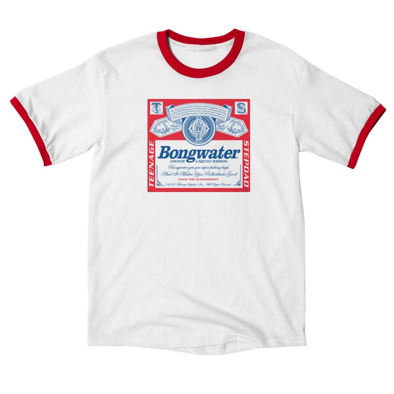 BONGWATER Classic Label Bootleg in Men's Ringer T-Shirt White / Red by Teenage Stepdad